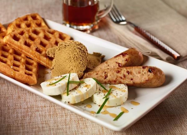 Maple Cinnamon Chicken Sausage & Waffles