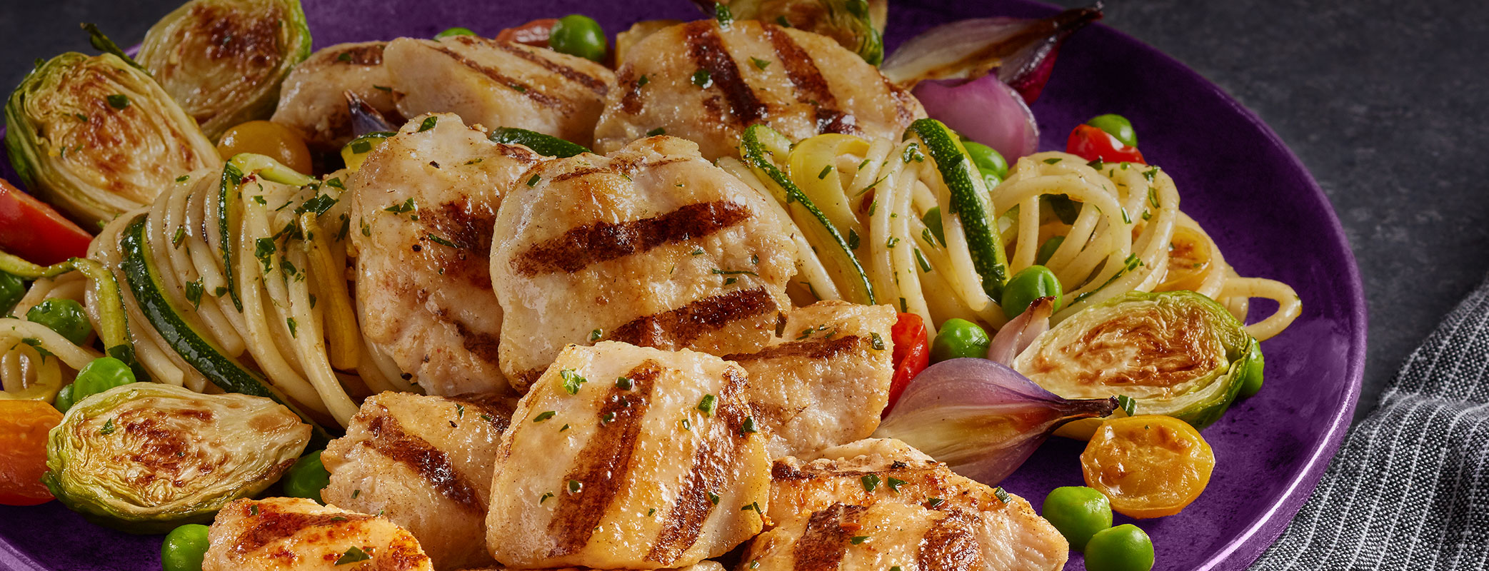 Sautéed Vegetables with Grilled Chicken Breast Chunks