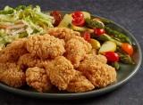 Gluten Free Breaded Chicken Breast Chunks with Seasonal Vegetable Medley & Asian Slaw