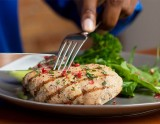Grilled Chicken Breast with Broccolini and Lemon Dressed Arugula