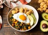 Sweet Potato, Kale, and Crispy Chicken Breakfast Bowls